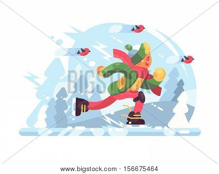Young boy skating. Happy male in cap and scarf at rink. Vector illustration