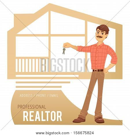 The concept of real estate services. Real estate agent showing a house. Character male estate agent with the keys in his hands. For the design of business cards, banners and advertising. Vector illustration.