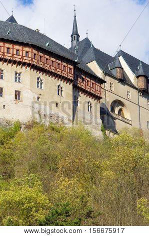 view of Karlstejn castle in Czech Republic.