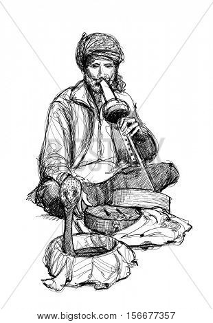 Indian snake charmer - vector illustration
