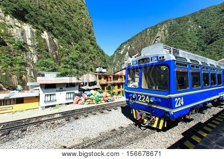 AGUAS CALIENTES, PERU - MARCH 14, 2015: Train connecting Cusco and Machu Picchu in Peru