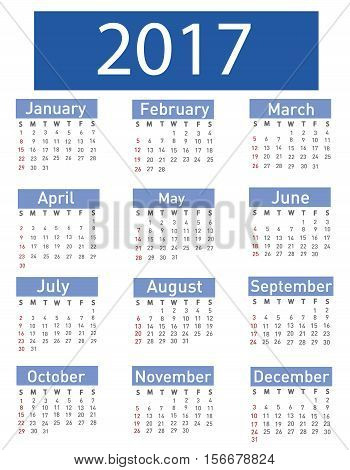 Calendar for 2017 illustration on white background
