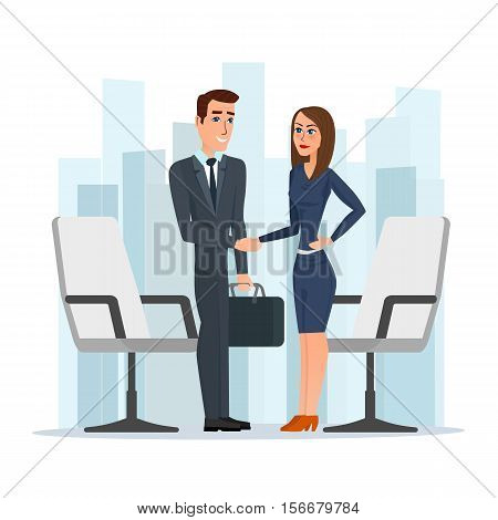 Businesswoman and businessman shaking hands man and woman. Business cartoon concept. Vector illustration isolated on white background in flat style.