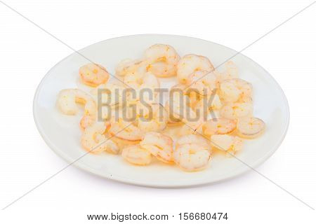 Delicious Appetizing Prawns On White Plate On White