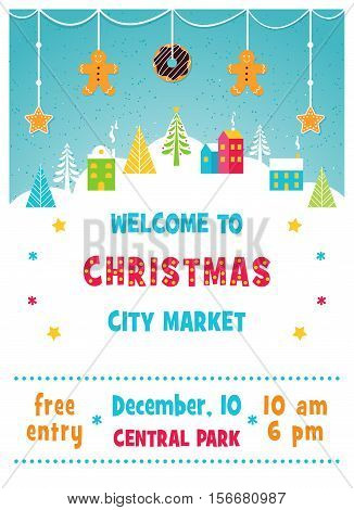 Christmas Holiday Market or Fair Poster with Snowy Winter Town Landscape, Trees and Gingerbread Cookies Garland. Vector Illustration