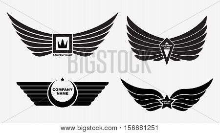 Set of four vector logo wings. Winged decors with crown star for your company brand logotype emblem or transport for extreme sport decoration. Eagle bird tattoo.