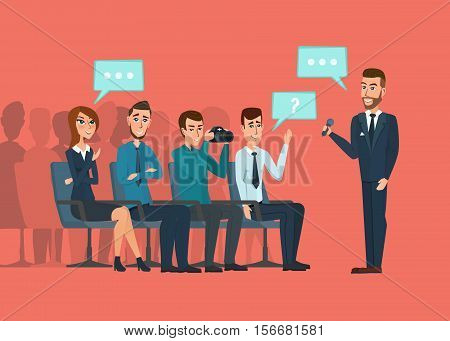 Business professional meeting. Journalists and photographers at a meeting of business people communicating conference hall. Vector creative illustrations flat design. Worker people Man and Women.