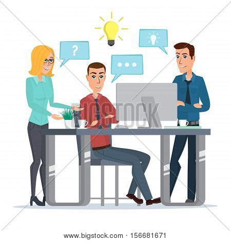 Teamwork office idea Business People Meeting Discussing Office Desk Businesspeople Working Flat Vector Illustration isolated on white background in flat style