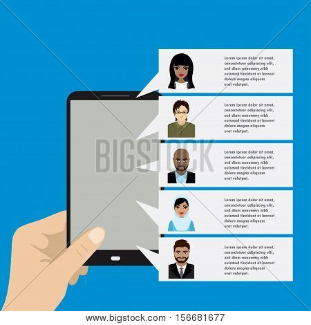 Template - hand holding a mobile phone with different contacts on the screen. Faces of people of different nationalities. Vector