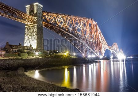 Night over the river in Edinburgh, Scotland