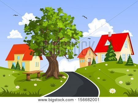 View of the city and countryside vector illustration