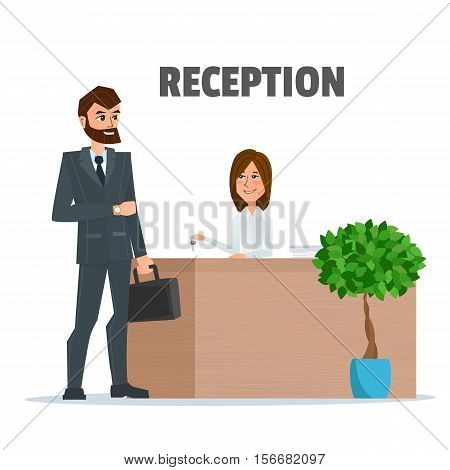 Customer receives a businessman the key at the reception a girl. Reception service hotel desk business office concept in flat style. Vector Illustration isolated on white background in flat style