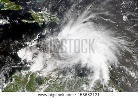 Tropical cyclone in the Caribbean Sea. Elements of this image are furnished by NASA