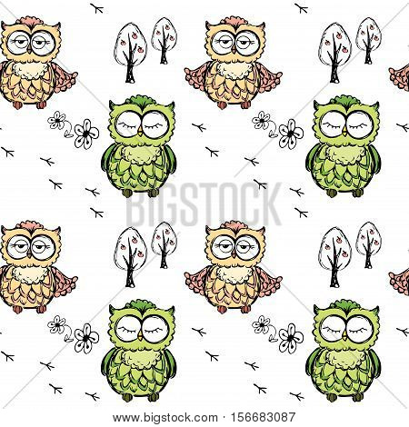 Seamless Doodle Owl Pattern Background