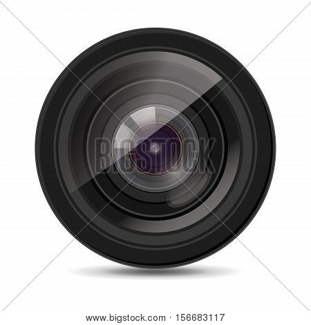 Icon for camera lens. White background. Vector illustration isolated.