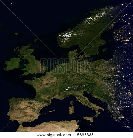 City lights on world map. Europe. Elements of this image are furnished by NASA