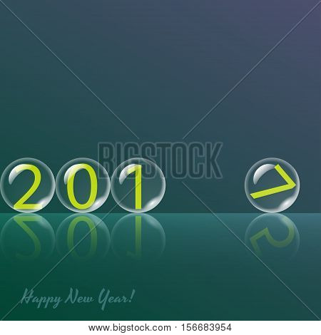 Transparent rolling glass balls on green background. Vector card. Easy editable background color