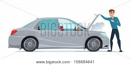 Man having Car Trouble. Car breaks down. vehicle recovery concept. Vector cartoon Illustration isolated on white background in flat style