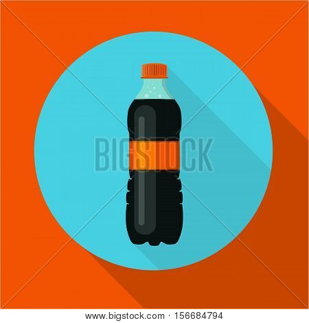 Bottle of soda water. Tasty refreshing drink. Vector illustration