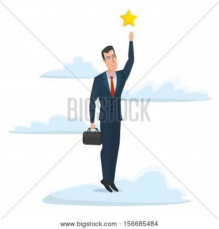 Cheerful businessman reaching up to get a golden star trophy, for goal achievement or award concept. Business cartoon concept. Vector illustration isolated on white background in flat style.