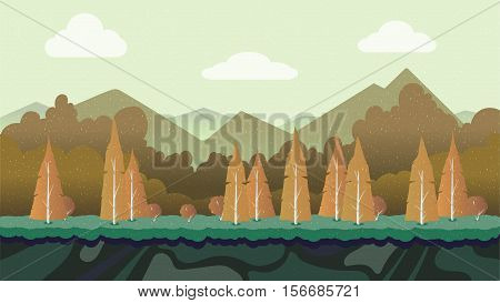 Seamless cartoon nature landscape, vector unending background with separated layers for game. 1920x1080