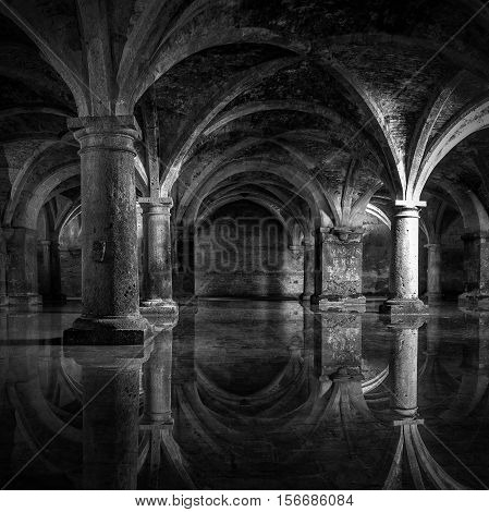 EL JADIDA MOROCCO - SEPTEMBER 27 2016: Portuguese Cistern. Museum El Jadida Cistern Morocco. Ancient European Historical Buildings