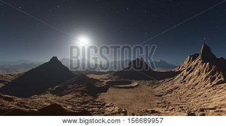 Dust storm on Mars. Sunset on Mars. Martian landscape with craters