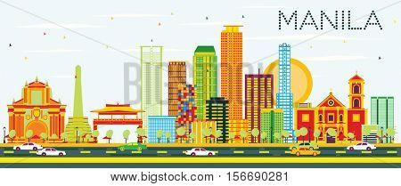 Manila Skyline with Color Buildings and Blue Sky. Vector Illustration. Business Travel and Tourism Concept with Modern Architecture. Image for Presentation Banner Placard and Web Site.