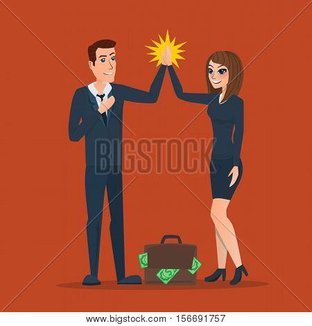 Businessman and woman clapping hands each other in partnership, supportive, cheerful, successful or corporation. Business cartoon. Vector creative color illustrations flat design in flat modern style.