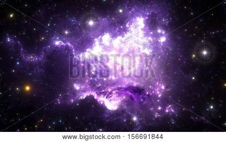 Giant glowing nebula. Space background with purple nebula and stars