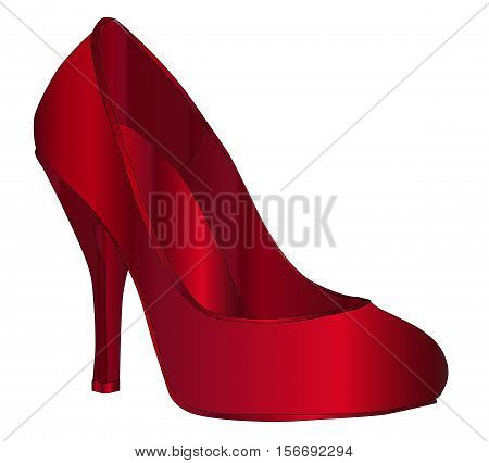 A ruby red stiletto heel shoe isolated on a white background
