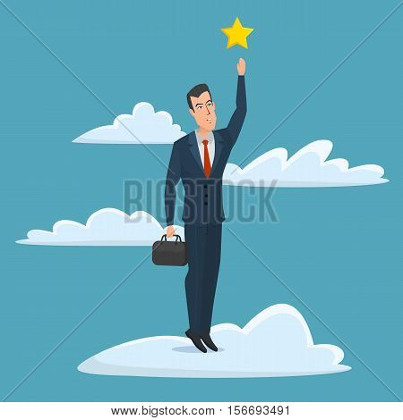 Cheerful businessman reaching up to get a golden star trophy, for goal achievement or award concept. Business cartoon concept. Vector creative color illustrations flat design in flat modern style.