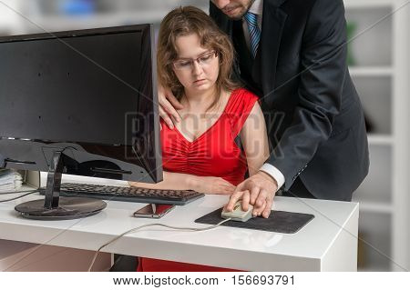 Boss Or Manager Is Seducting His Secretary In Office. Harassment