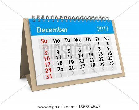 Monthly table calendar for December 2017. 3d illustration