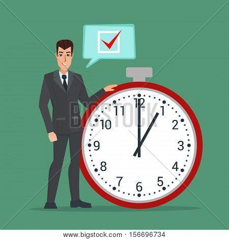 Businessman think on task list, checklist, stopwatch vector illustration. Business plan. Cartoon concept. Vector creative color illustrations flat design in flat modern style.