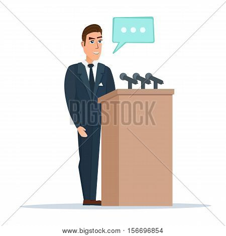 Speaker makes a report to the public. Orator stands behind a podium with microphones. Presentation and performance before an audience. Vector illustration isolated on white background in flat style.