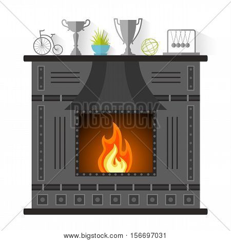 Design of the fireplace. Modern metal fireplace in the flat style. Vector illustration.