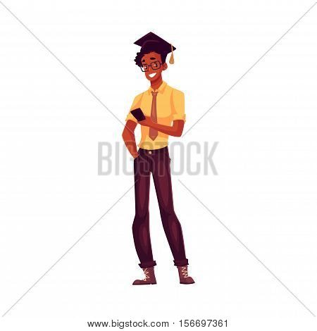 College, black university student in glasses and graduation cap holding phone, cartoon style illustration isolated. Male african student in graduation cap, shirt and jeands playing with phone