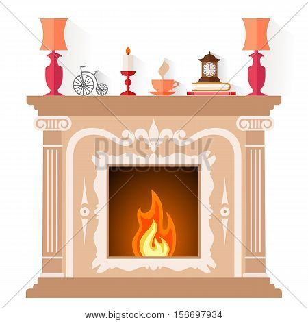 Freplace in classic style isolated on white background. Flat vector illustration. Fireside design template.