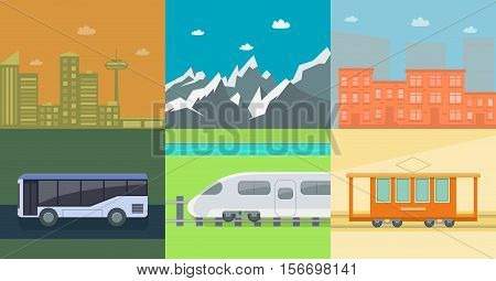 Set of flat public transport on the background of mountains and town houses. Posters for the sale of tickets for the tram train and bus. Vector illustration