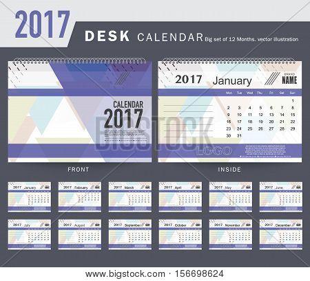 Desk Calendar 2017 Vector Design Template. Big set of 12 Months. Week Starts Monday