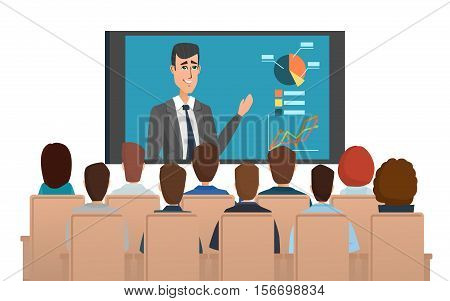 Corporation directors board at the conference call meeting with CEO at the video call projection screen. Vector illustration isolated on white background in flat style.