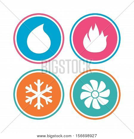 HVAC icons. Heating, ventilating and air conditioning symbols. Water supply. Climate control technology signs. Colored circle buttons. Vector