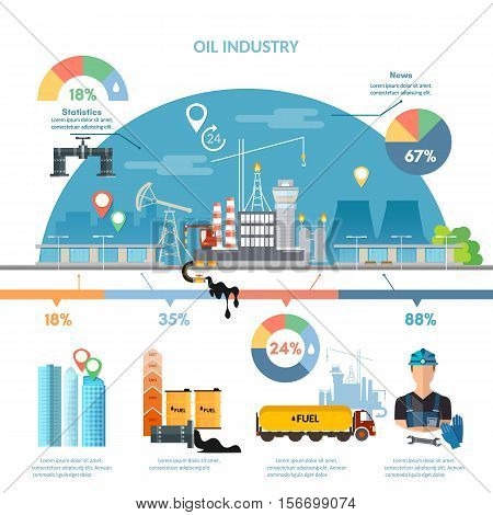 Oil industry infographics extraction and processing products transportation of oil oilman works vector