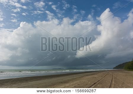 Beautiful sea view on laem son beach Ranong Thailand Asia. laem son beach Ranong. Sunny beach. Beautiful white sand beach and calm sea in Ranong Thailand. Endless sandy beach. Beach scene. laem son beach