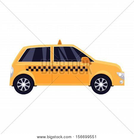 Traditional yellow taxi with checker pattern, cartoon vector illustration isolated on white background. Yellow taxi, urban transportation, New York city symbol