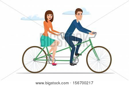 Man and woman on twin bike. Young couple riding a tandem bicycle. Vector illustration isolated on white background in flat style.