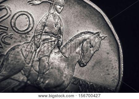 Saint Wenceslas on Czech koruna coin. Financial concept. Macro.