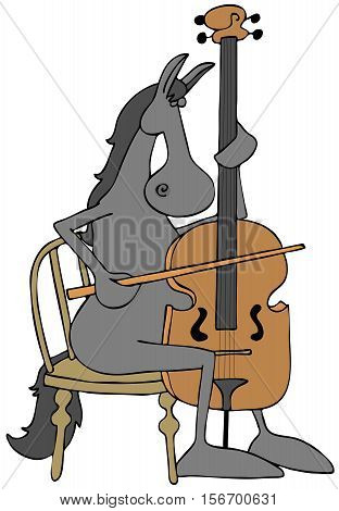 Illustration of a gray horse seated in a chair and playing a cello.