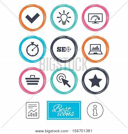Internet, seo icons. Bandwidth speed, online shopping and tick signs. Favorite star, notebook chart symbols. Report document, information icons. Vector